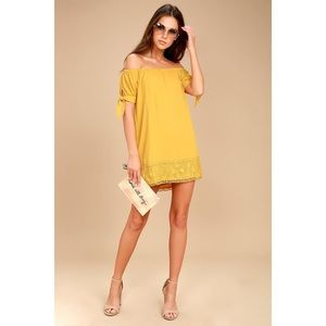 Lulus Yellow Lace Off-the-Shoulder Dress (S)